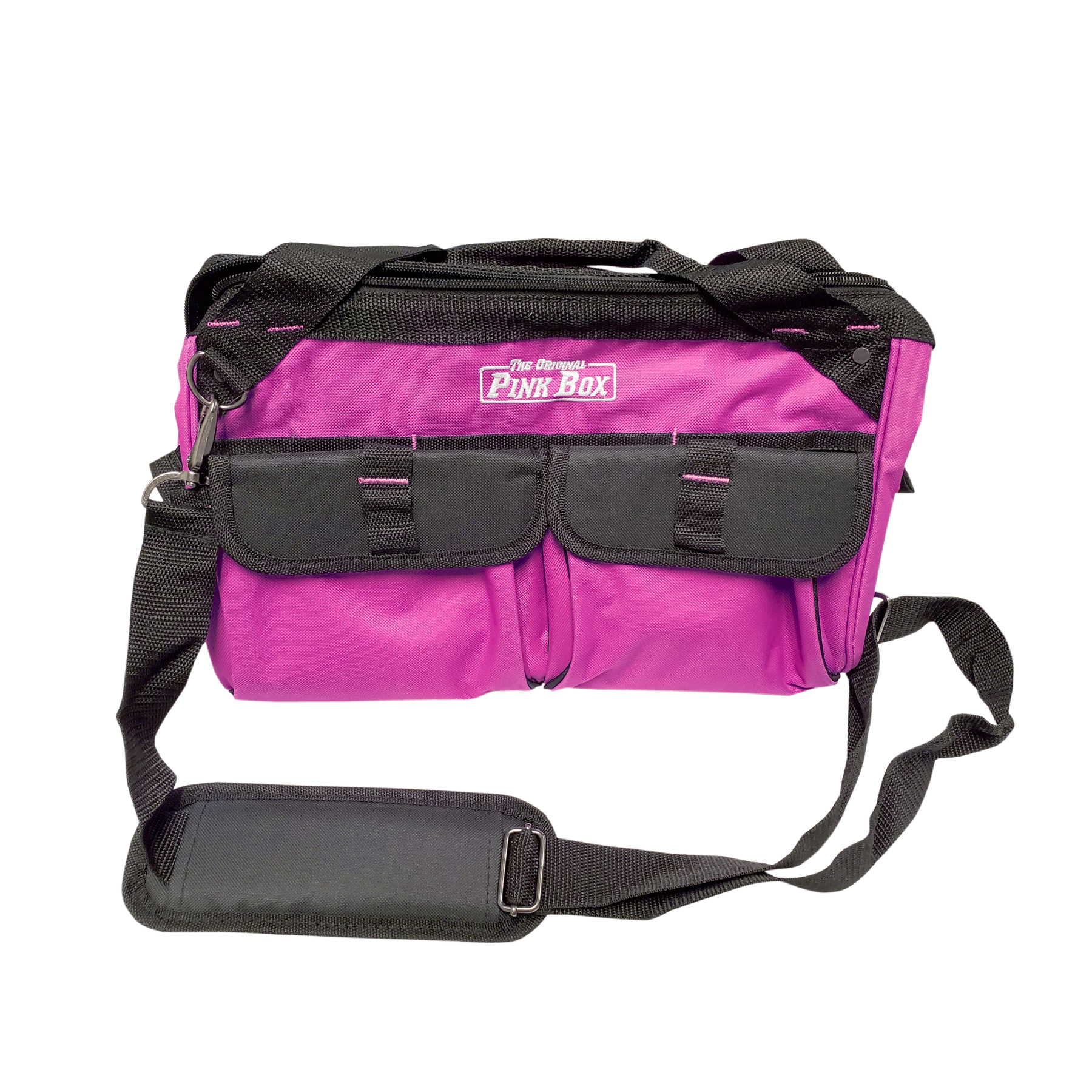The Original Pink Box PB15TB 15-Inch Wide Mouth Soft Sided Tool Bag with Zipper and Shoulder Strap, Pink by Cala Industries, Inc