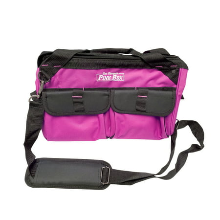 - The Original Pink Box PB15TB 15-Inch Wide Mouth Soft Sided Tool Bag with Zipper and Shoulder Strap, Pink