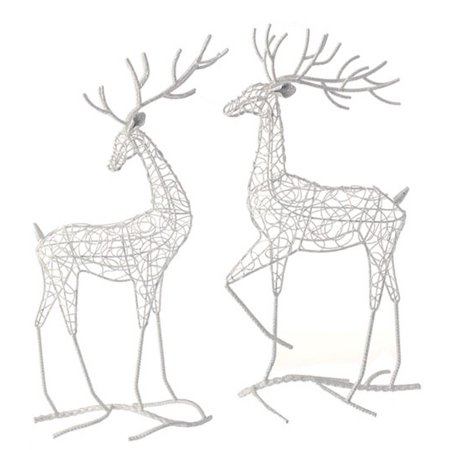 "19"" Snowy Winter Glittered White Prancing Rear Facing Fawn Deer Christmas Table Top Figure"