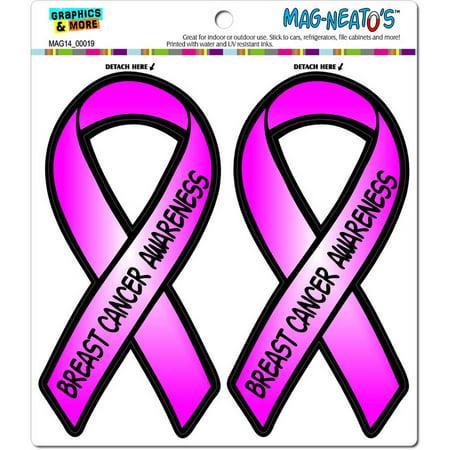 Breast Cancer Awareness Pink Awareness Support Ribbon Automotive Car Refrigerator Locker Vinyl Magnet (Ribbon Breast Cancer Car Magnet)