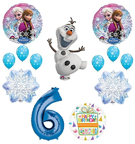 Frozen 6th Birthday Party Supplies Olaf, Elsa and Anna Balloon Bouquet Decorations Blue #6