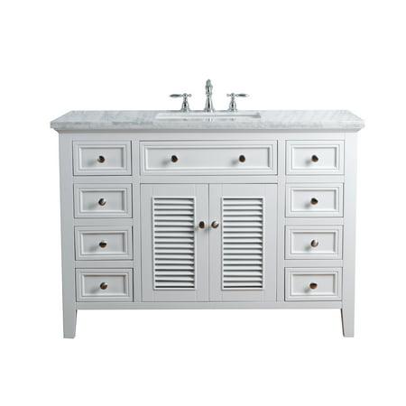 48 Inch Single Bathroom Vanity - Stufurhome Genevieve 48 Inches White Single Vanity Cabinet w/ Shutter Double Doors Single Bathroom Sink