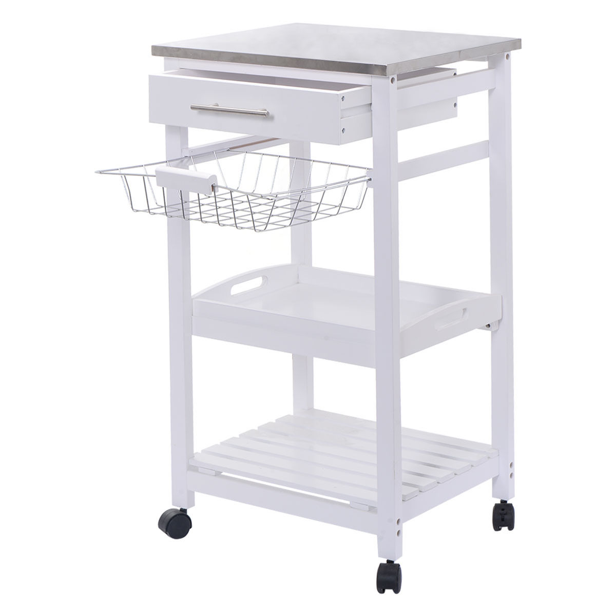 Costway Rolling Kitchen Trolley Cart Steel Top Removable Tray W/Storage Basket &Drawers by Costway