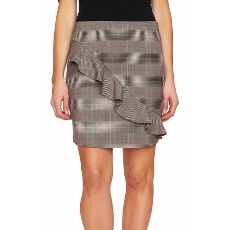 Wear Plaid Skirt - Multi Womens Ruffle Trim Glen Plaid Mini Skirt 4