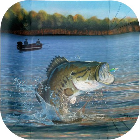 Fishing Birthday Party (Gone Fishin' Square Dinner Plates (8)