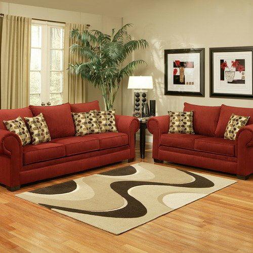 Hokku Designs Tailer Micro-Velvet Sofa and Loveseat Set