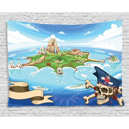 Island Map Decor Tapestry, Aerial Fantasy Pirate Cove Island with Crossbones and Captain Skull Art Decor, Wall Hanging for Bedroom Living Room Dorm Decor, 80W X 60L Inches, Multi, by Ambesonne