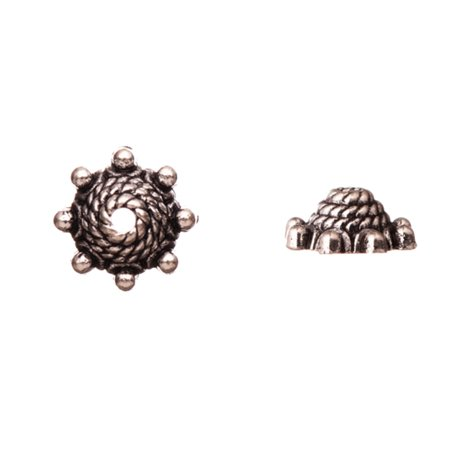 Spiral Rope With Beaded Edge Antique Silver-Plated Bead Cap Fits 9.5-11.5mm Beads 10x10mm Sold per pkg of 10pcs per pack