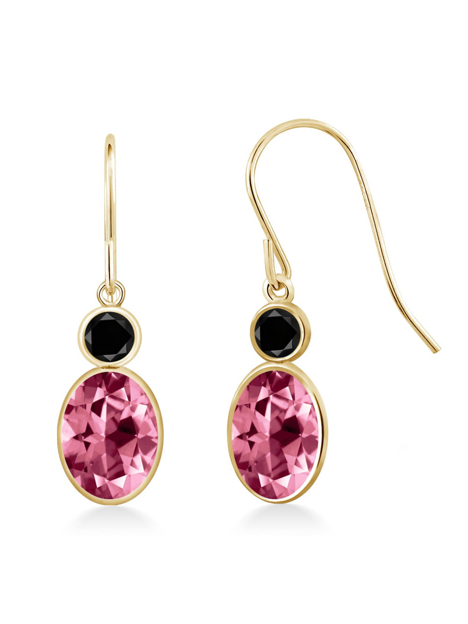 14K Yellow Gold Diamond Earrings Set with Oval Pink Topaz from Swarovski by