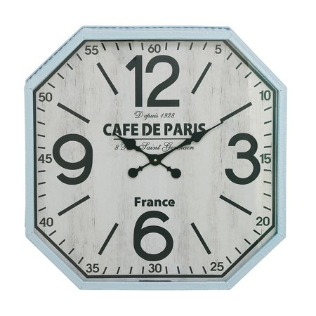 Decmode Traditional 24 Inch Octagonal Iron And Wood Wall Clock