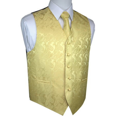 Italian Design, Men's Tuxedo Vest, Tie & Hankie Set - Gold Paisley - Gold Tuxedo Jacket