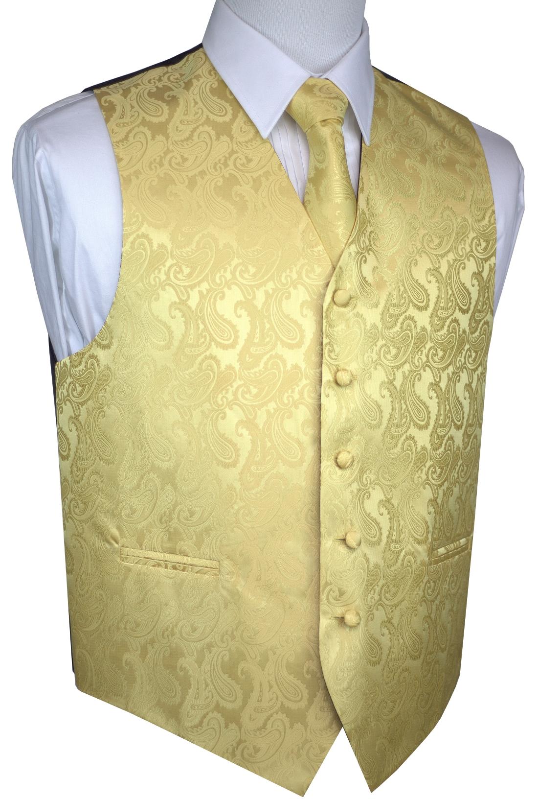 Italian Design, Men's Tuxedo Vest, Tie & Hankie Set - Gold Paisley