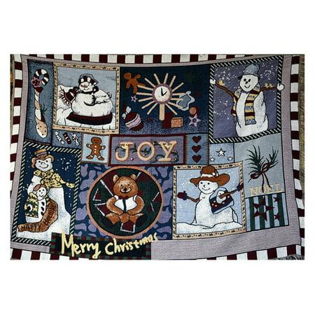 Tache Home Fashion SnowMan Wonderful Season Tapestry Throw Blanket - 60L x 50W in. (Snowman Tapestry Throw)