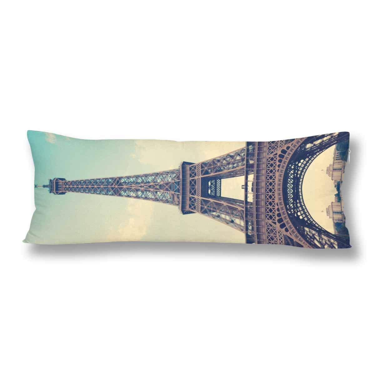 ABPHOTO Vintage Eiffel Tower Blue Sky Body Pillow Covers Case Protector 20x60 inch