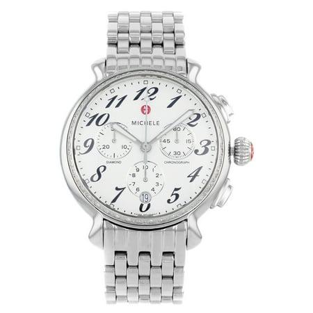Michele Fluette Diamond 0.36cttw Silver Steel Quartz Ladies Watch MWW24A000001