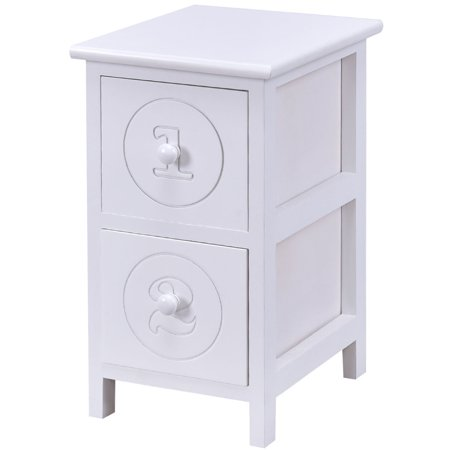 Two Drawer Bed Side Cabinet - Costway White Wooden Bedside Table Nightstand Cabinet Furniture Storage Drawers