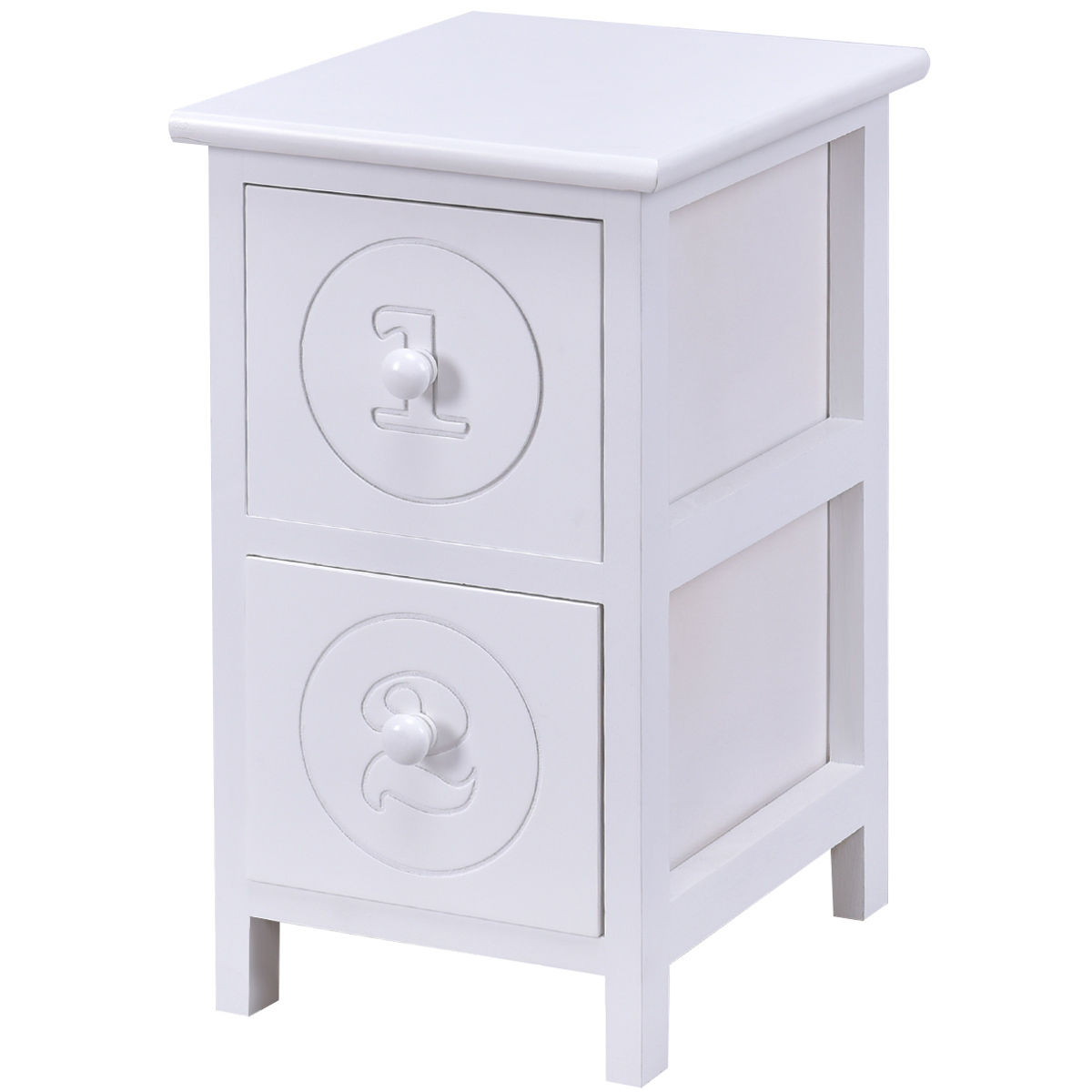 Costway White Wooden Bedside Table Nightstand Cabinet Furniture Storage Drawers  sc 1 st  Walmart & Costway White Wooden Bedside Table Nightstand Cabinet Furniture ...