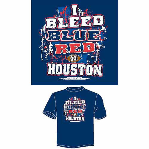 "Houston Football ""I Bleed Blue and Red, Go Houston"" T-Shirt, Blue"