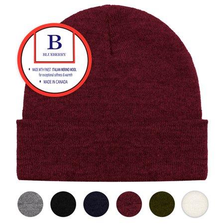 Blueberry Uniforms Burgundy Merino Wool Beanie Hat -Soft Winter and Activewear Watch Cap Winter Watch Cap