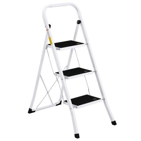 Mllieroo Steel Folding 3 Step Ladder Step Stool Step Ladders with Handgrip Anti-slip,330lbs Capacity ()