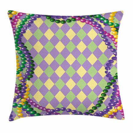 Mardi Gras Throw Pillow Cushion Cover, Mardi Gras Celebration Beads in Vibrant Graphic Style on Diamond Line Pattern, Decorative Square Accent Pillow Case, 18 X 18 Inches, Multicolor, by Ambesonne - Decorative Brads
