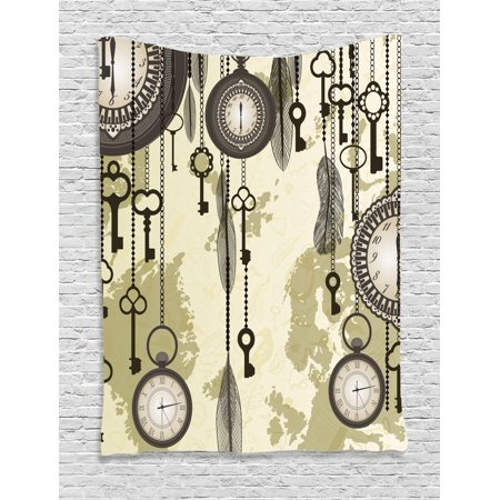 Antique Tapestry, Old Days Design 20s Cultural Items and Tribal Feathers Changing Trends Theme, Wall Hanging for Bedroom Living Room Dorm Decor, Green Grey Cream, by Ambesonne - 20s Themed Wedding