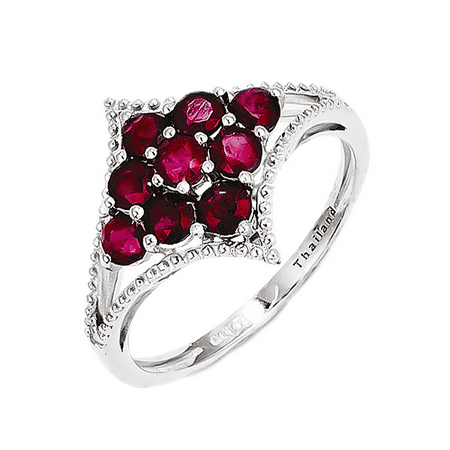 925 Sterling Silver Flower Cluster Ruby Ring