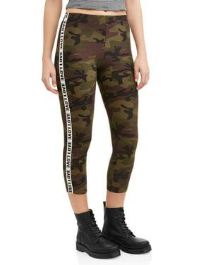 1459e5c1363 Product Image Juniors  Sueded Jersey Side Stripe Graphic Capri Leggings