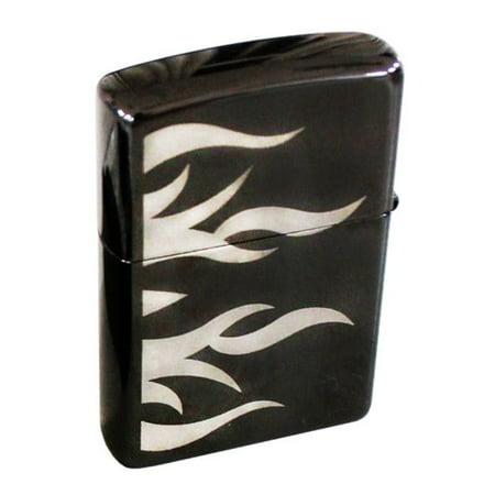 Zippo Tattoo Flame Lighter, Ebony High Polish Black Finish Mirrored
