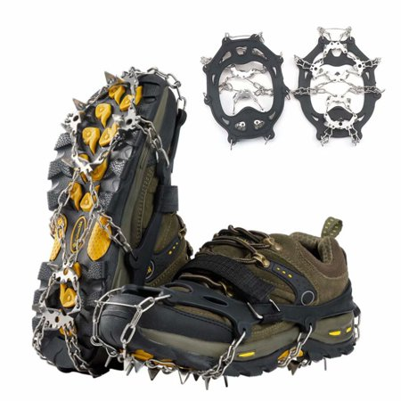 1 Pair 19-Stainless Steel Spikes Crampons Ice Cleats Traction Snow Grips for Boots Shoes Women Men Anti Slip Safe Protect Climbing Hunting thumbnail