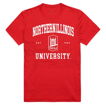 NIU Northern Illinois University Huskies Seal Tee T-Shirt Red Small