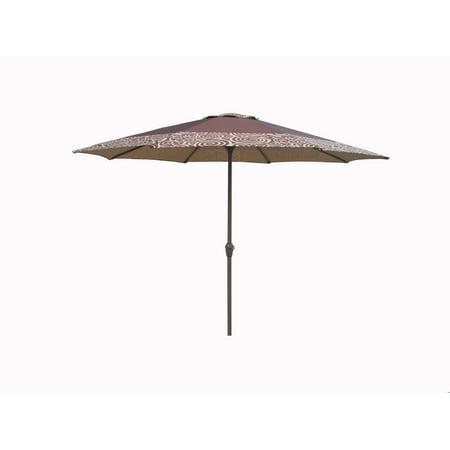 Outdoor Patio Market Umbrella 9 Ft. with Hand Crank and Tilt, Brown (Hand Blown Swirl)