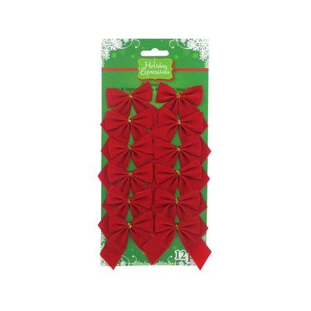Darice Holiday Velvet Bow 2x2 Red 12pc