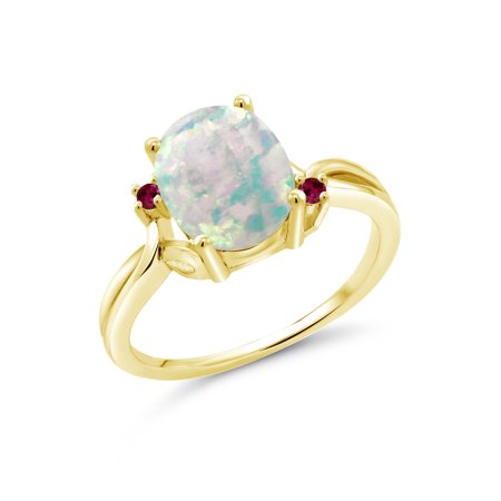 1.73 Ct Oval Cabochon White Simulated Opal Red Created Ruby 18K Yellow Gold Plated Silver