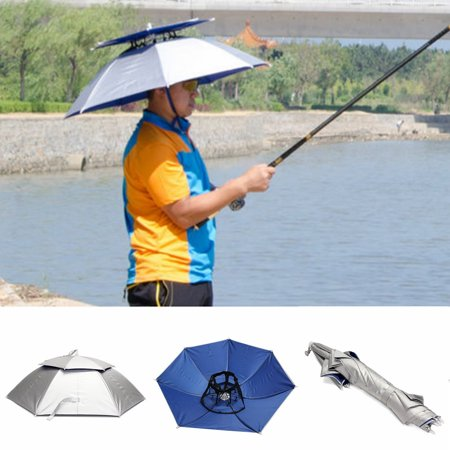 Asewin 2 Layer Folding Headwear Umbrella Rain Hat Cap Beach Outdoor Fishing Camping - Ubrella Hat