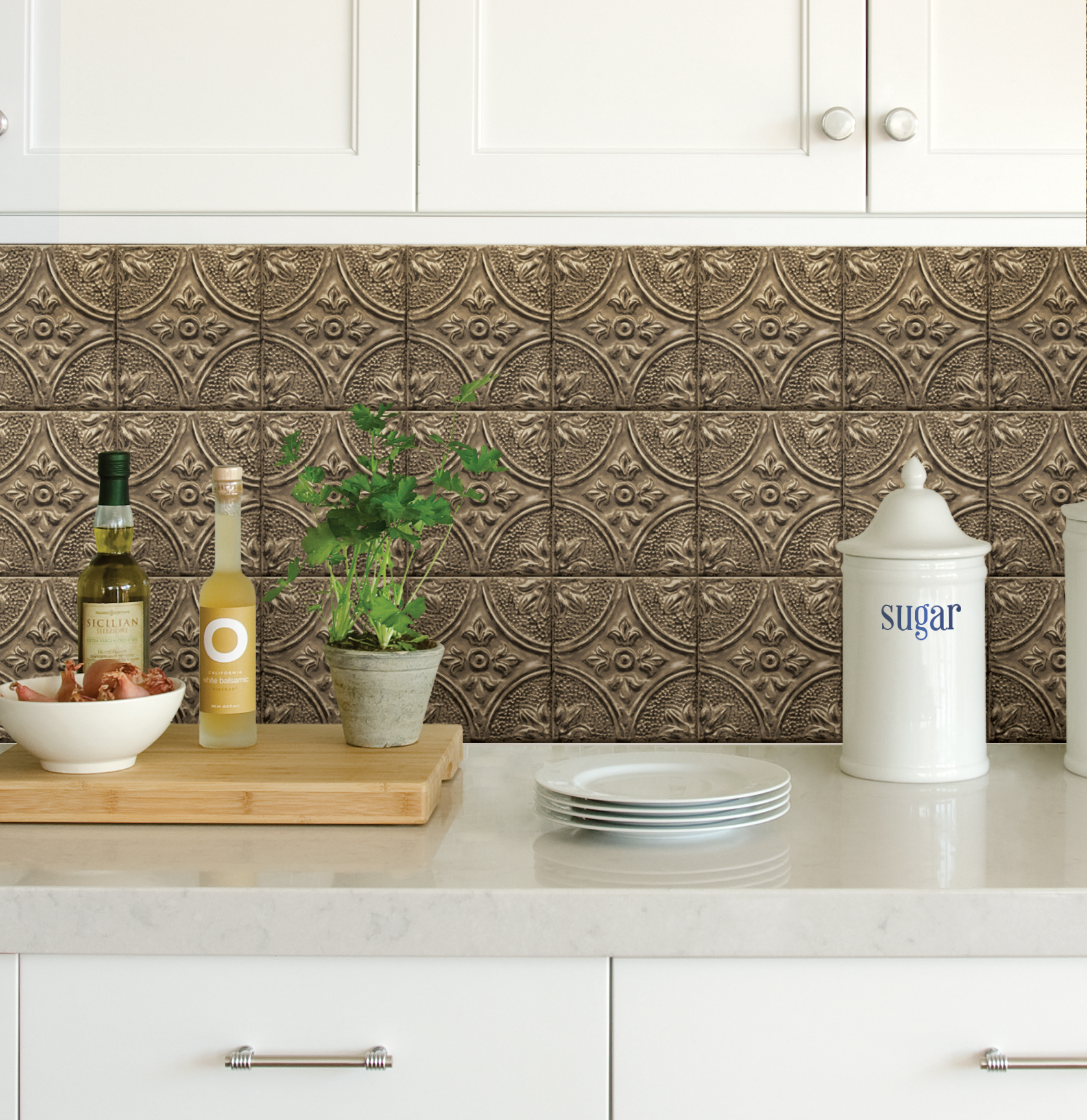 Self Adhesive Backsplashes Pictures Ideas From Hgtv: InHome Restored Tile Bronze Peel & Stick Backsplash Tiles