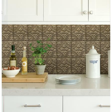 InHome Restored Tile Bronze Peel & Stick Backsplash (Mini Metallic Glass Tiles)