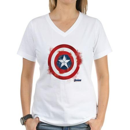 CafePress - Captain America Women's V Neck T Shirt - Womens Cotton V-Neck T-shirt