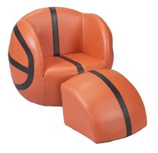 Gift Mark Child's Upholstered Basketball Sports Chair  with Ottoman