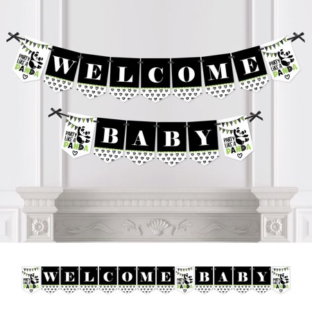 Party Like a Panda Bear - Baby Shower Bunting Banner - Party Decorations - Welcome Baby