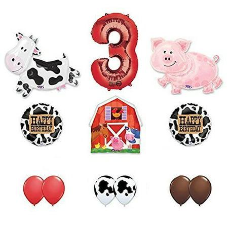 Farm Animal Birthday Supplies (Barn Farm Animals 3rd Birthday Party Supplies Cow, Pig, Barn Balloon)