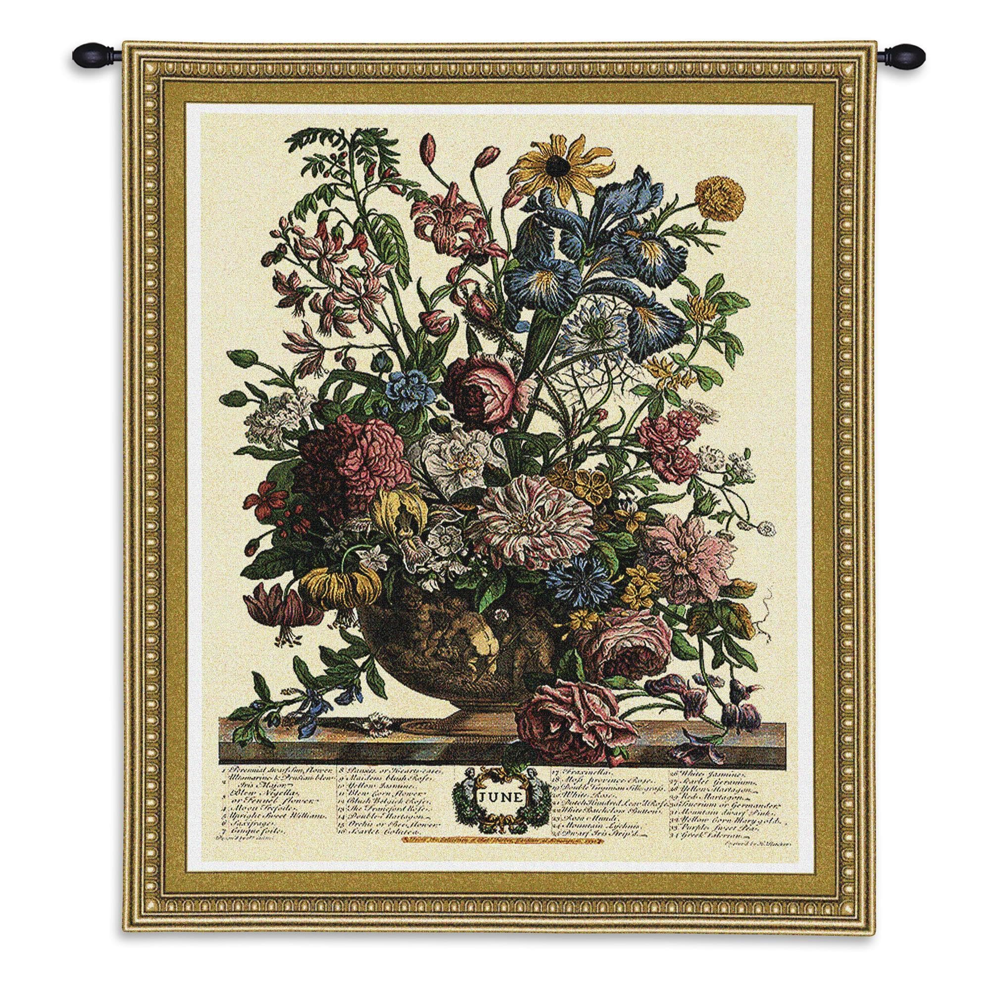 FineArtTapestries 1803-WH June Botanical Wall Tapestry by Supplier Generic