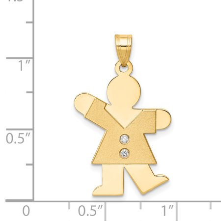 14K Yellow Gold AA Diamond Kid Pendant - image 2 of 2