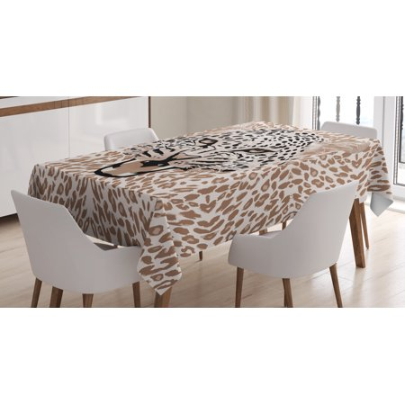 Modern Tablecloth, Roaring Leopard Portrait with Rosettes Wild African Animal Big Cat Graphic, Rectangular Table Cover for Dining Room Kitchen, 60 X 84 Inches, Cocoa Beige Black, by Ambesonne