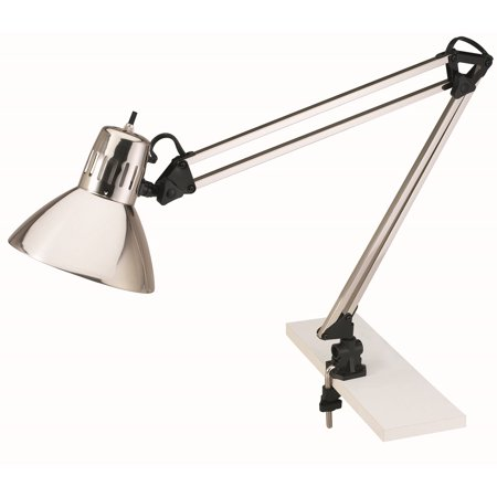 V-LIGHT Architect-Style CFL Brushed Nickel Swing-Arm Task Lamp with Non-Skid Table/Desk Clamp