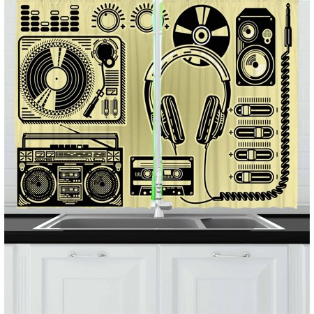 Hip Hop Curtains 2 Panels Set, Electronic Music Devices as Turntable Headphones Speaker for Recording, Window Drapes for Living Room Bedroom, 55W X 39L Inches, Pale Yellow and Black, by (Best Speakers For Hip Hop Music)