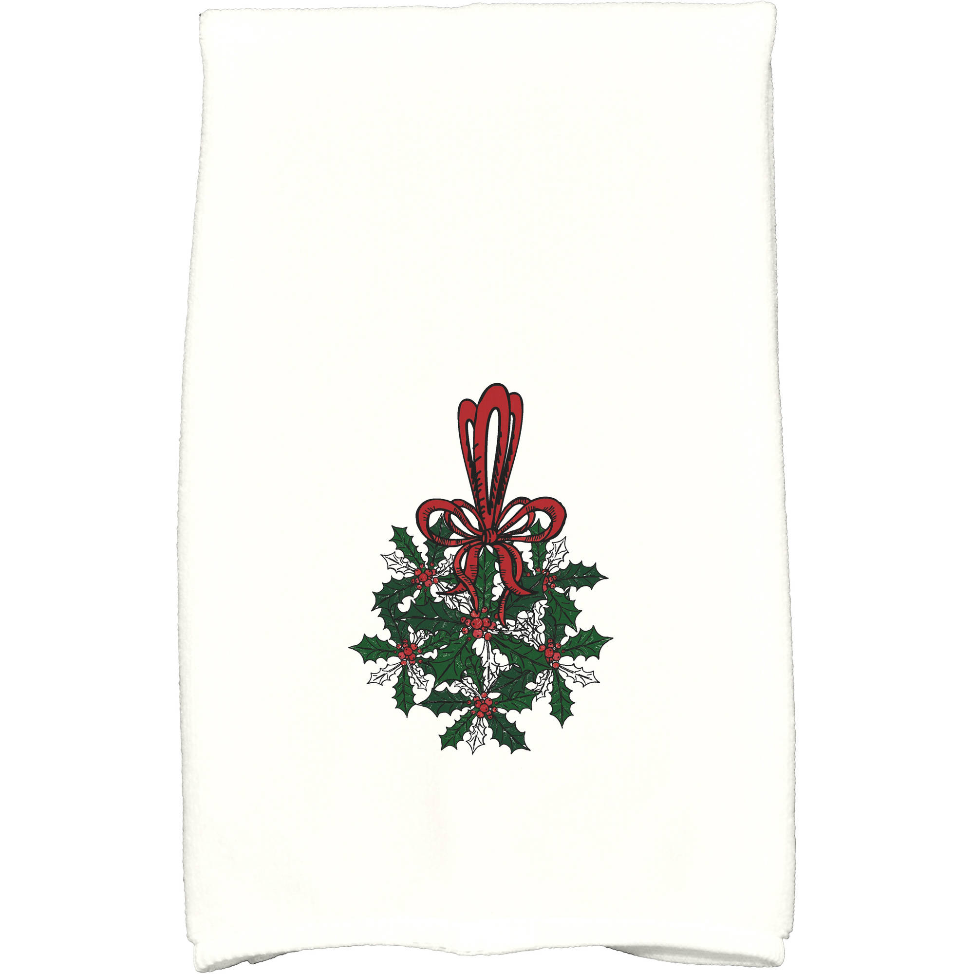 """Simply Daisy 16"""" x 25"""" Traditional Mistletoe Holiday Floral Print Kitchen Towel by E By Design"""