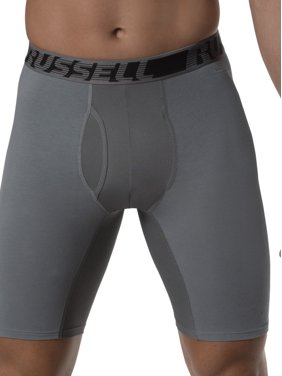 Russell Men's Active Performance Assorted Color Long Leg Boxer Briefs, 3 Pack