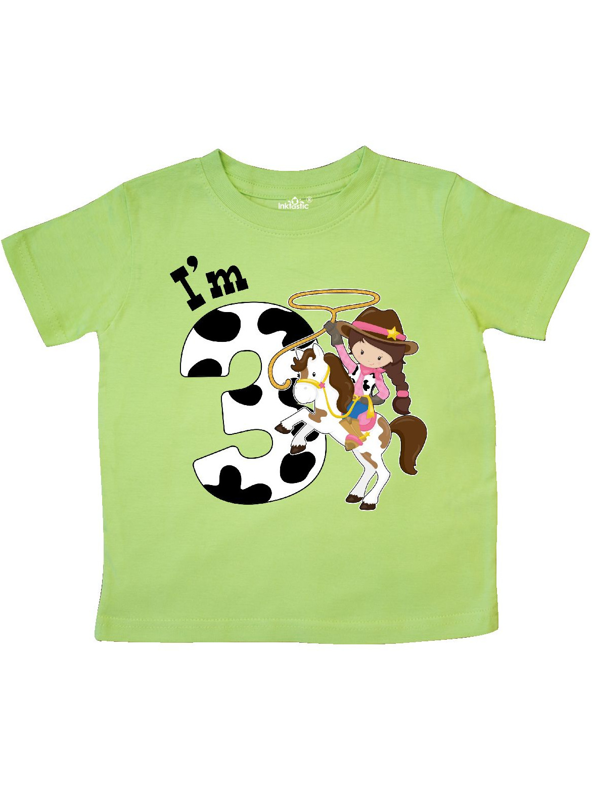 inktastic Im Three-Cowgirl Riding Horse Birthday Toddler T-Shirt