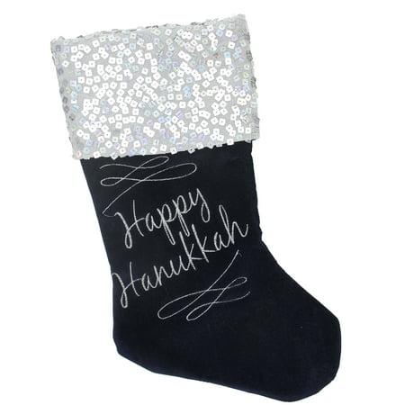Hanukkah Christmas Stocking.19 Navy And Silver Happy Hanukkah Square Sequin Cuffed